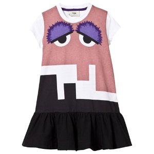 Fendi White and Pink Monster Print Jersey Dress | AlexandAlexa