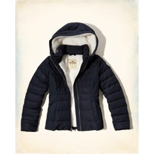 Girls Sherpa Lined Puffer Jacket | Girls Clearance | HollisterCo.com