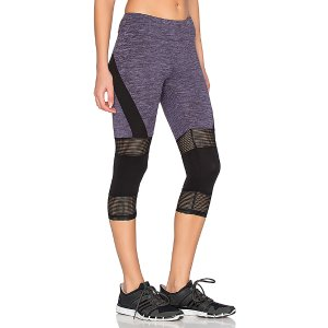 Lanston Sport Mesh & Color Block Cropped Legging in Violet | REVOLVE