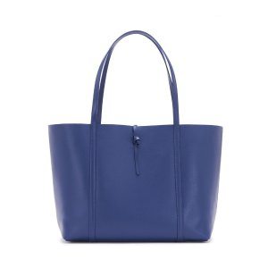 NAVY LEATHER TIE TOTE