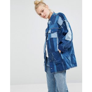 Monki Patchwork Oversized Denim Jacket