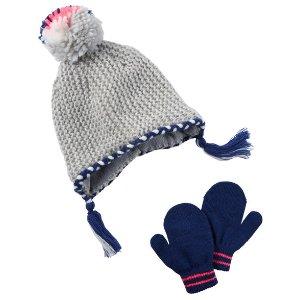 Toddler Girl Metallic Hat & Mitten Set   Carters.com