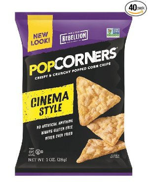 POPCORNERS Cinema Style (Butter), Popcorn Chips, Single Serve (1oz/40 Pack)
