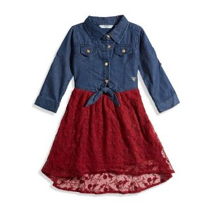Little Girl Floral Lace Two-Fer Dress (2-6x) | guess kids