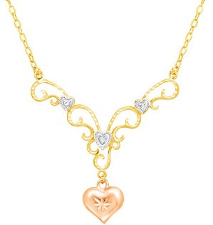 Heart Garland Drop Necklace with Diamond
