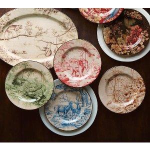 Sabyasachi Salad Plate, Mixed Set of 4 - Animals   Pottery Barn
