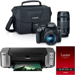 $399Canon EOS Rebel T6 18MP DSLR Camera w/ 18-55mm + 75-300mm Lenses + Pro 100 Printer Kit