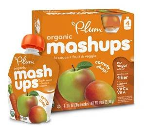 $13.55 Plum Kids Organic Fruit and Veggie Mashups, Carroty Chop, 3.17 Ounce, 4 Count (Pack of 6)