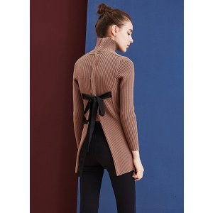 High Neck Rib Sweater With Back Tie-Beige TP1671