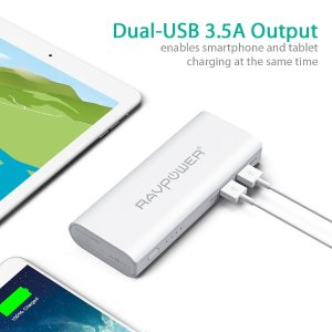 $17.99 RAVPower 10400mAh Power Bank & 2 Premium MFI lightning cables