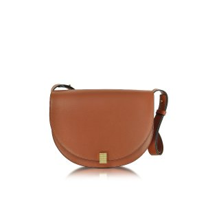 Victoria Beckham Cognac Half Moon Box Leather Shoulder Bag at FORZIERI