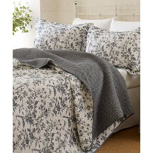 Laura Ashley Home Gray & White Floral Quilt Set | zulily