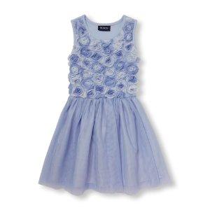 Girls Sleeveless Rosette Tutu Dress   The Children's Place