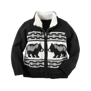 Toddler Boy Sherpa-Lined Zip-Front Sweater | Carters.com