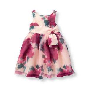 Baby Girl Cranberry Floral Floral Organza Dress at JanieandJack