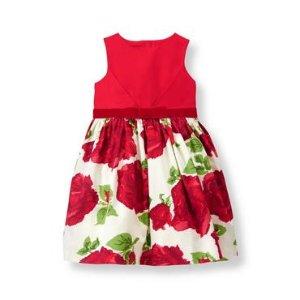 Crimson Rose Rose Sateen Dress at JanieandJack