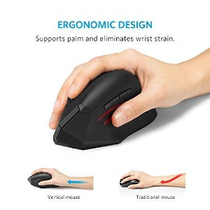 Anker 2.4G Wireless Vertical Ergonomic Optical Mouse, 800 / 1200 /1600DPI, 5 Buttons