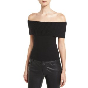 Alice + Olivia Romi Off-the-Shoulder Fold-Over Sweater, Black