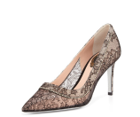 Rene Caovilla Crystal Lace Point-Toe Pump, Black