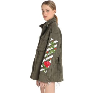 OFF WHITE - M65 ROSES EMBROIDERY CANVAS FIELD JACKET - CASUAL JACKETS - MILITARY GREEN - LUISAVIAROMA