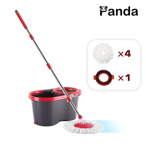 Panda Premium Effortless Wring Spin Mop and Bucket Set (4 Mop Heads + 1 Extension Rod)