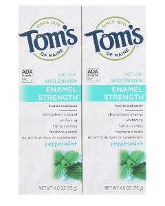 Tom's of Maine Enamel Strength Natural Toothpaste, Peppermint, 4 Ounce,2 Count