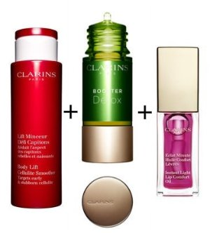 $100.5 Body Lift Cellulite Control+Booster Detox+Instant Light Lip Comfort Oil @ Clarins