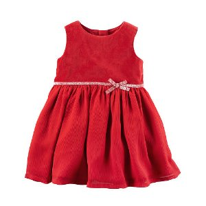 Carter's Girls Red Babydoll Dress with Bow Detail and Diaper Cover - Carters - Babies