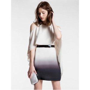 OMBRE FLOWY BELTED DRESS