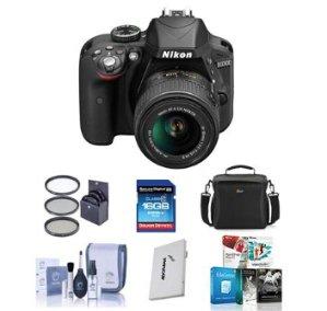 $446.95 包邮免税Nikon D3300 24.2 MP 相机带18-55m镜头套装(送配件)