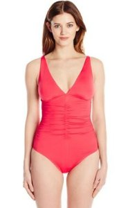 From $21.49 Calvin Klein Women's Solid Over The Shoulder One Piece Swimsuit