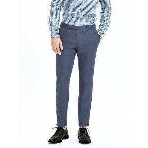 Modern Slim Navy Linen Suit Trouser