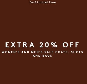 Extra 20% Offon Sale Coats Shoes and Bags @ Barneys New York