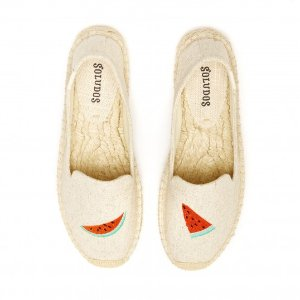 Soludos Watermelon Embroidered Platform Smoking Slipper in Sand - Soludos Espadrilles