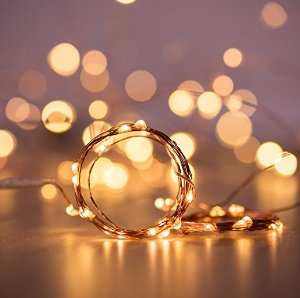 DecorNova 2 Set of 19.7ft 60 LEDs IP44 Waterproof Super Bright Copper Wire Rope Lights with Timer for Christmas Home Bedroom Party Tree, 3AA Battery Case, Warm White