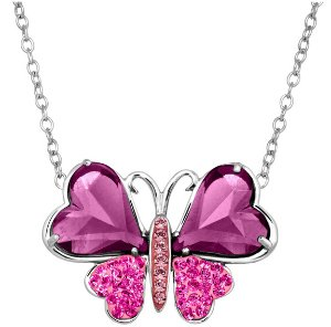 Two-Tone Butterfly Necklace with Swarovski Crystals