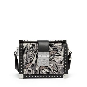 Mini Mitte Brocade Crossbody in Black by MCM