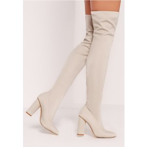 Pointed Toe Neoprene Over The Knee Boot Cream