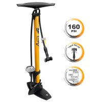 Limited Offer BV Steel Floor Pump with Gauge, 160 psi, Yellow