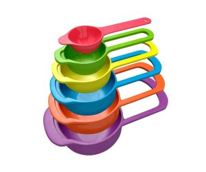 6 Pc Set of Plastic Nested Measuring Cups and Spoons