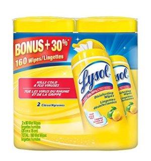 $4.57包邮(原价$9.22)史低价!Lysol 消毒湿巾-160片装
