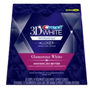 $24.89 Crest 3D White Luxe Whitestrip Teeth Whitening Kit, Glamorous White, 14 Treatments