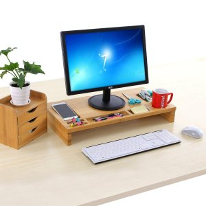 $27.99 SONGMICS Bamboo Monitor Riser Large Size Laptop TV Printer Desktop Stand