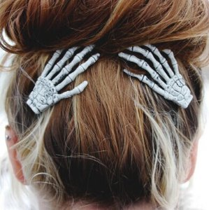 Skeleton Hand Hair Clips - Set of Two