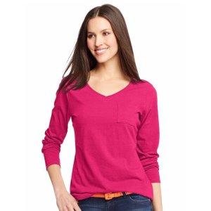 Hanes Women's V-Neck Long Sleeve Pocket T-Shirt