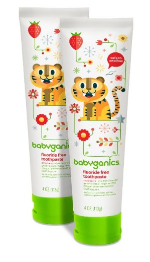 $6.38 Babyganics Fluoride Free Toothpaste, Strawberry, 4oz Tube (Pack of 2)