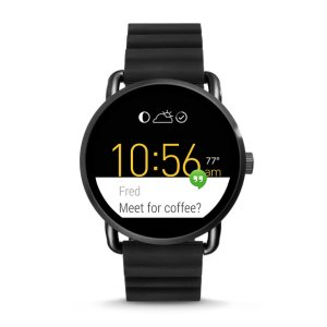Q Wander Touchscreen Black Silicone Smartwatch - Fossil