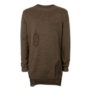 AAA Brown Ripped Longline Sweater - Men's Cardigans & Sweaters - Clothing - TOPMAN USA