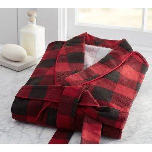 Buffalo Check Flannel Robe | Pottery Barn