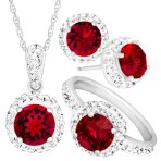 $19 July Birthstone Pendant with Red Swarovski Crystal
